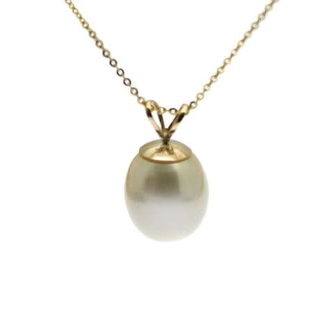 9ct Gold Pearl Pendant Necklace 9mm Cultured Pearl Gold Chain