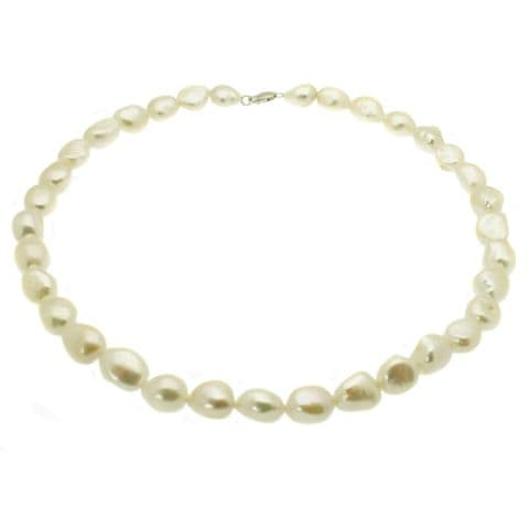 """Baroque Pearl Necklace Large White Pearls Sterling Silver 18"""""""
