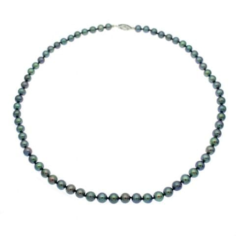 """Black Pearl Necklace 6mm Cultured Pearls Sterling Silver 16"""" or 18"""""""