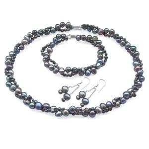 Black Pearl Necklace Bracelet & Earring Set Double Strand Baroque Pearls