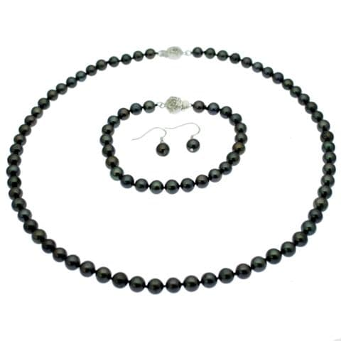 Black Pearl Necklace, Bracelet & Earring Set Round Pearls Sterling Silver