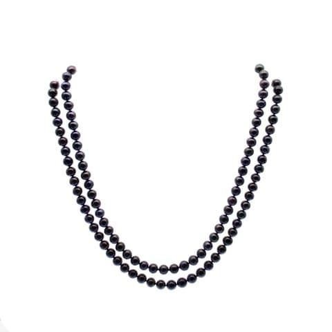 """Black Pearl Necklace Double Strand 6mm Pearls Sterling Silver 20"""""""
