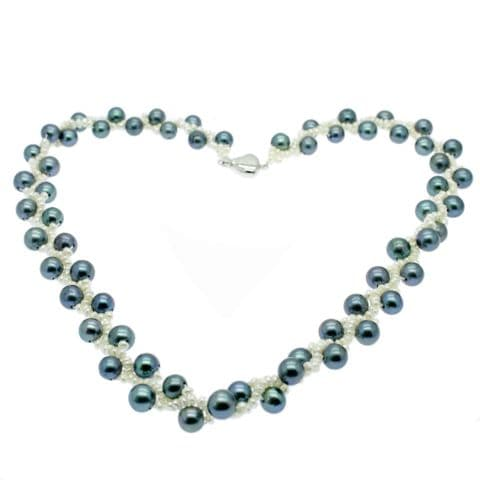 """Blue Pearl Necklace with Blue Round & White Seed Pearls Sterling Silver 17"""""""