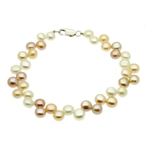 Button Pearl Bracelet  PastelCultured Pearls Sterling Silver