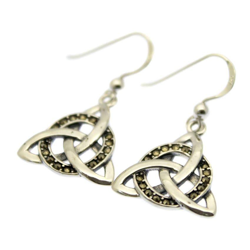 Celtic Knot Earrings Marcasite inlaid Sterling Silver Setting & Hooks