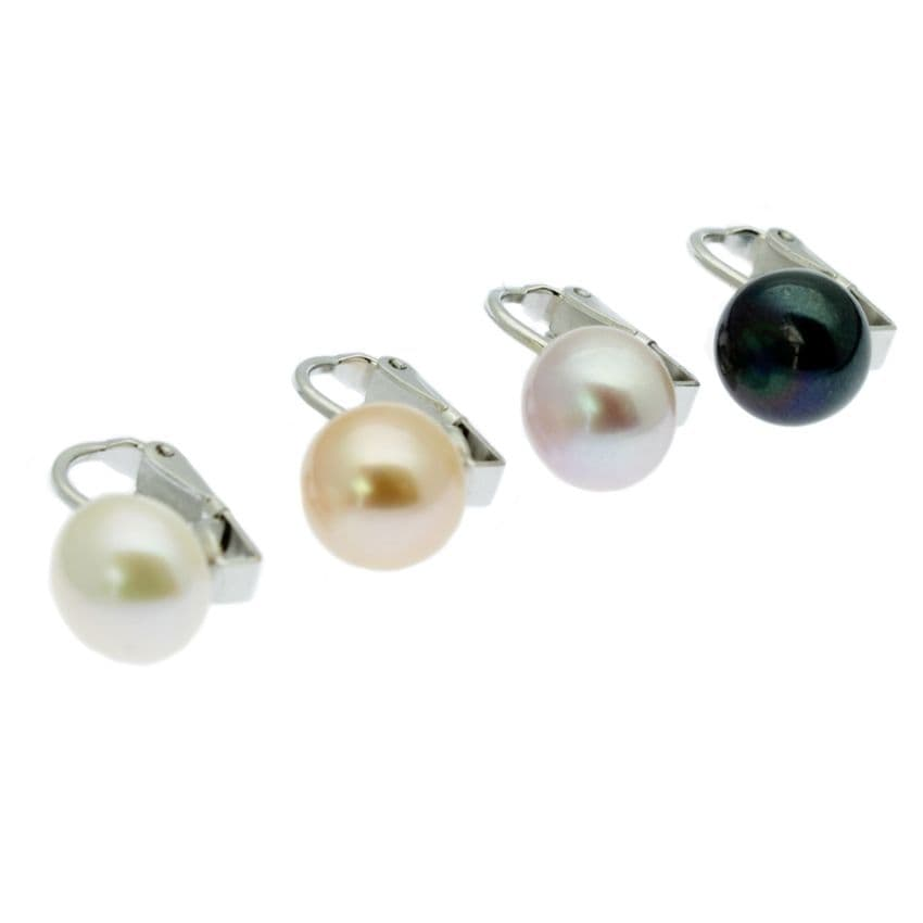 Clip On Pearl Earrings 9- 10mm Cultured Pearls Sterling Silver