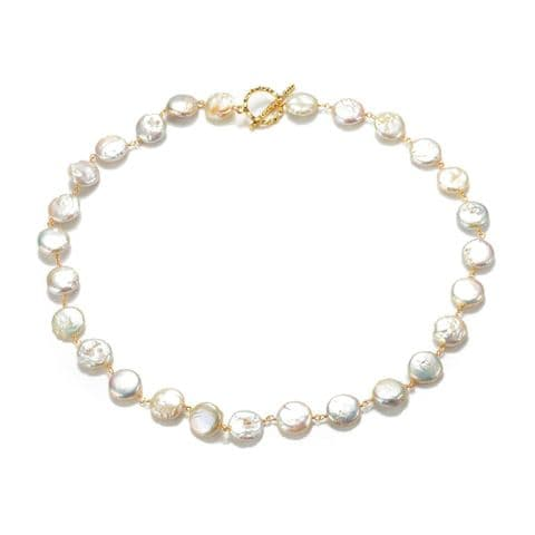 """Coin Pearl Necklace Cultured Cultured Pearls Toggle Clasp 18"""""""