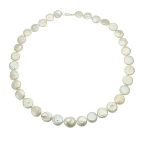 """Coin Pearl Necklace Sterling Silver Cultured Freshwater Pearls 18"""""""