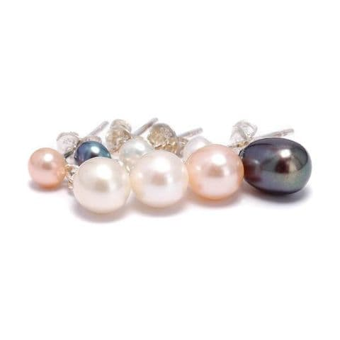 Double Pearl Drop Earrings Oval Cultured Pearl & Pearl Stud Sterling Silver