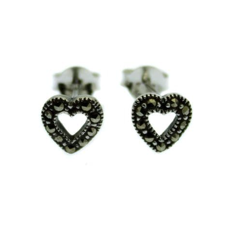 Heart Earrings Marcasite inlaid Sterling Silver Setting & Studs
