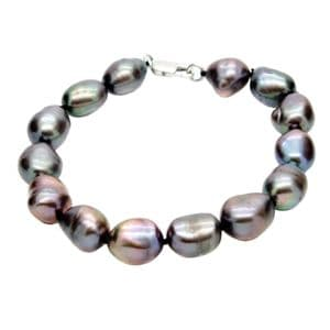 Large Black Baroque Pearl Bracelet Sterling Silver Clasp