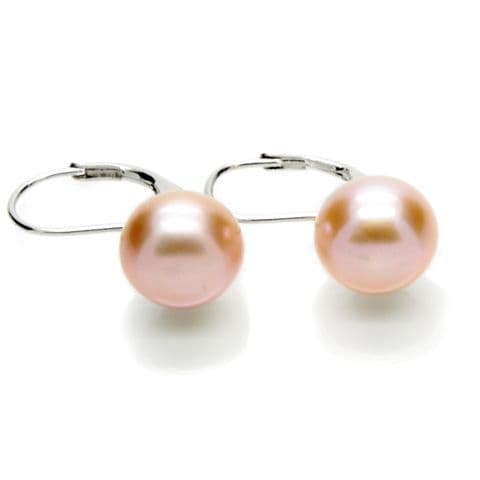 Leverback Lavender Pearl Earrings 10mm Cultured Button Pearls Sterling Silver