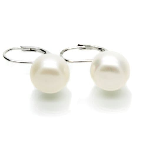 Leverback Pearl Earrings 10mm Cultured Button Pearls Sterling Silver