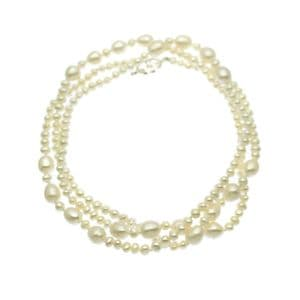 Long Pearl Necklace Oval Pearls with Sterling Silver Toggle Clasp 36""