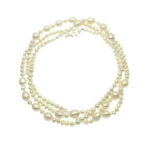 """Long Pearl Necklace Oval Pearls with Sterling Silver Toggle Clasp 36"""""""
