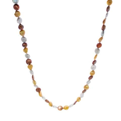 """Long Pearl Necklace  """"Sunshine"""" (Silver, Gold & Coffee) Coin Pearls 48"""""""