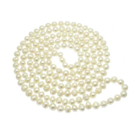 """Long Pearl Necklace White Cultured Pearls - 50"""""""