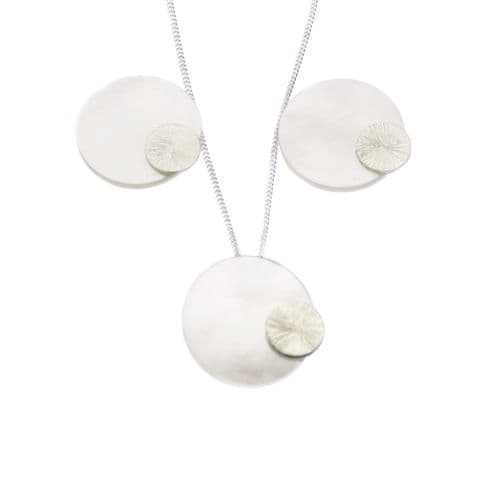 Mother Of Pearl Pendant & Earring Set Eclipse Design Sterling Silver