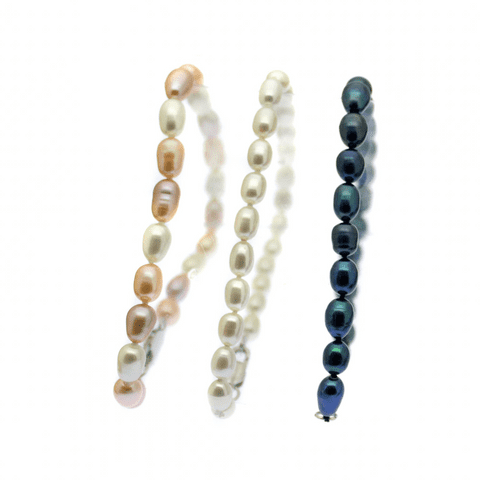 Oval Pearl Bracelet 5mm Cultured Pearls Sterling Silver Clasp