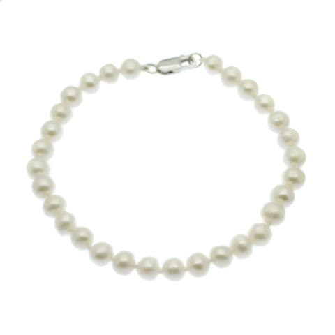 Pearl Bracelet 6mm Round Cultured Pearls Sterling Silver Clasp
