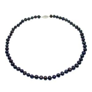 """Pearl Choker Necklace Black 6-7mm Cultured Pearls Sterling Silver Clasp 16"""""""