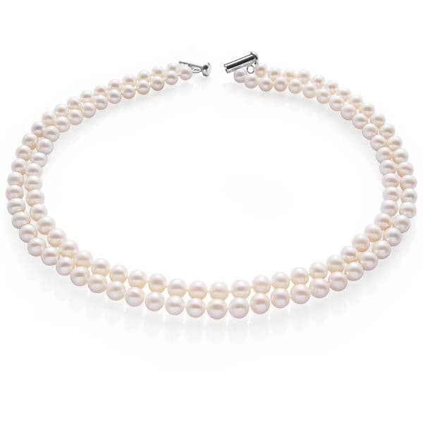 Pearl Choker Necklace Double Strand Sterling Silver