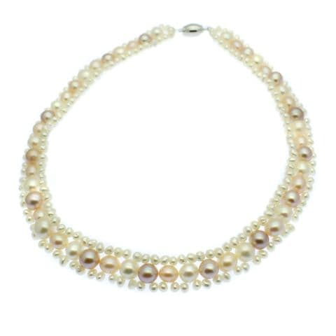 Pearl Choker Necklace Pastel and White Cultured Pearls Sterling Silver Clasp