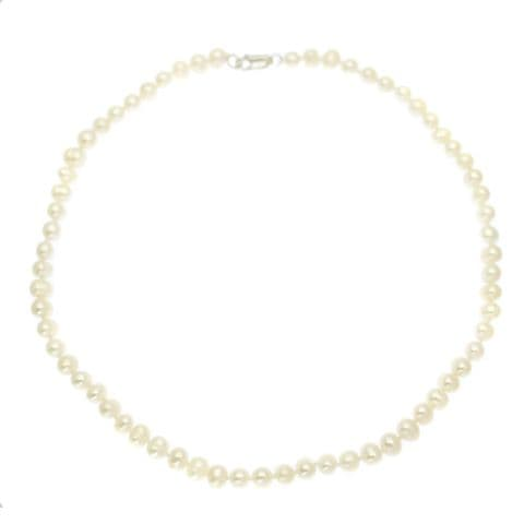 """Pearl Choker Necklace  White 5.5mm Cultured Pearls Sterling Silver Clasp 16"""""""