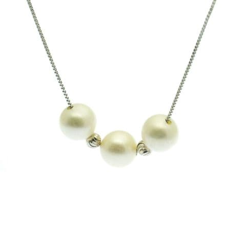 Pearl Cluster Necklace Three Cultured Pearls on Sterling Silver Box Chain