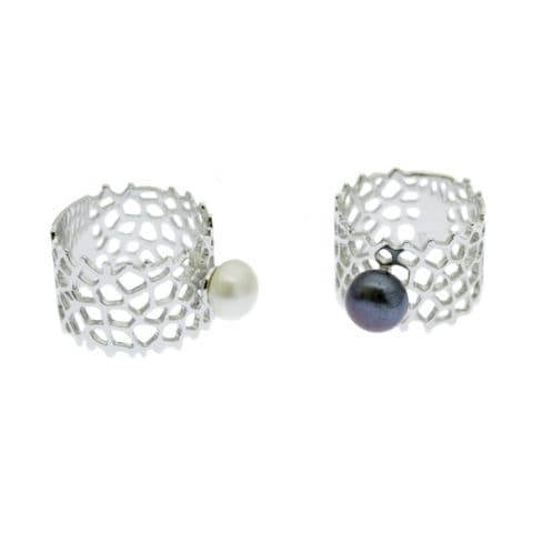 Pearl Lattice Ring Sterling with Cultured Pearls