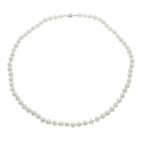 """Pearl Necklace 5.5mm Cultured Pearls Sterling Silver Magnetic Clasp 16 18 20"""""""