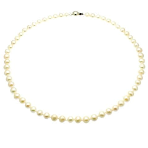 """Pearl Necklace 6.5mm Pearls Sterling Silver Magnetic Clasp 18 or 20"""""""