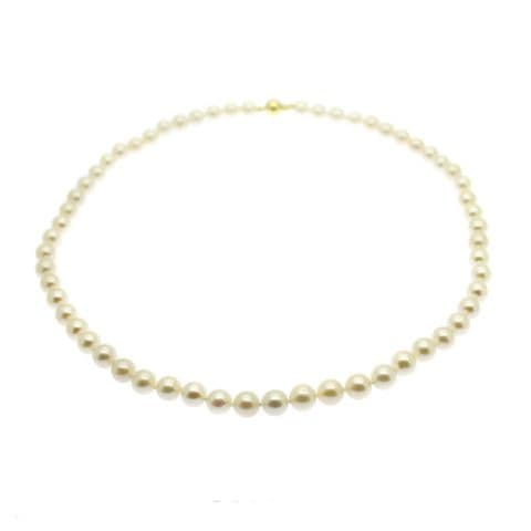 """Pearl Necklace  7mm Round White Cultured Pearls 9ct Gold 16 or 18"""""""