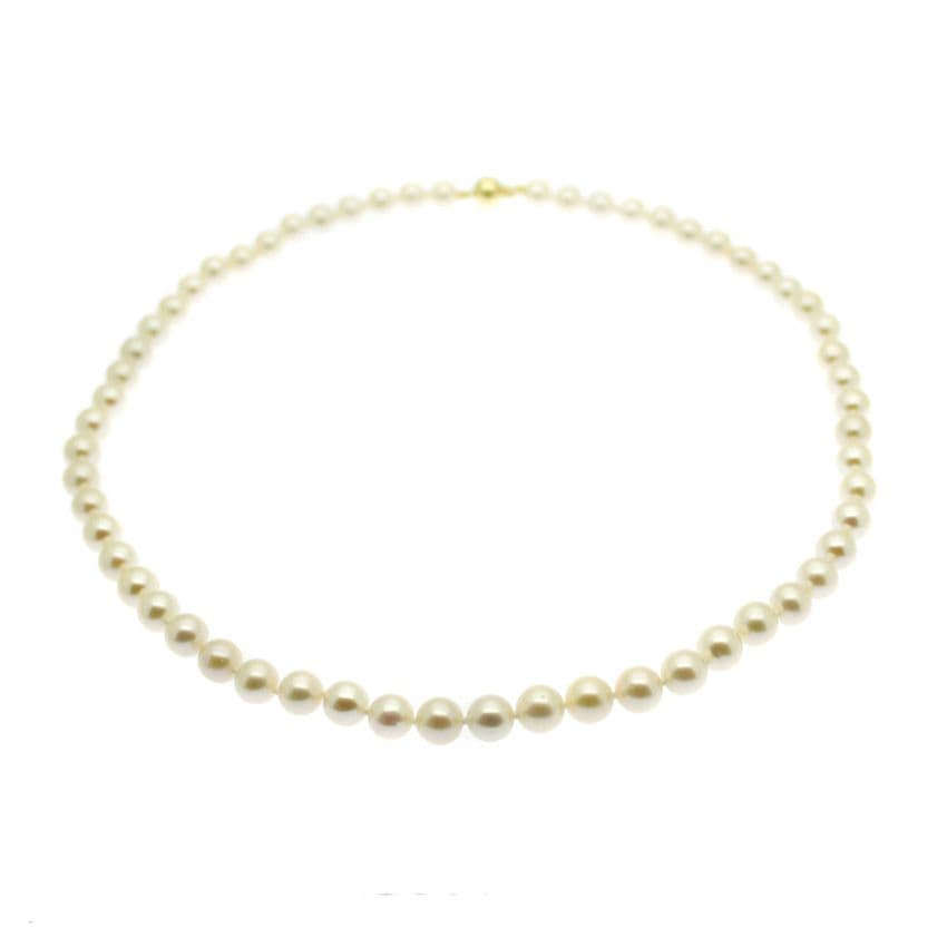 Pearl Necklace  7MM Round White Freshwater Pearls 9ct gold
