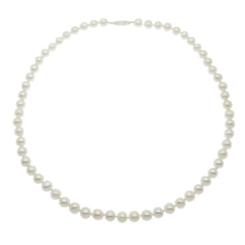 """Pearl Necklace  7mm Round White Cultured Pearls Sterling Silver 16 or 18"""""""