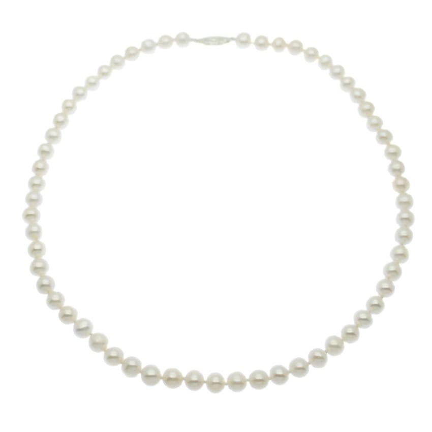 Pearl Necklace  7MM Round White Freshwater Pearls Sterling Silver