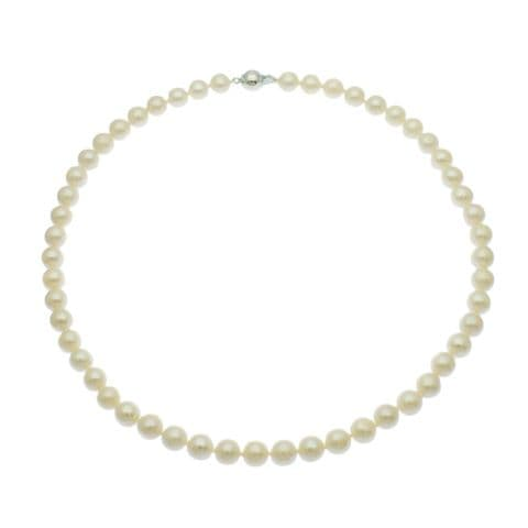 """Pearl Necklace 7mm White Cultured Pearls Sterling Silver Magnetic Clasp 18 or 20"""""""