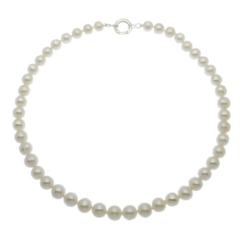 """Pearl Necklace 9mm Cultured Pearls Sterling Silver 18"""""""