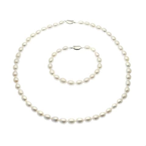 Pearl Necklace & Bracelet Set Sterling Silver White Oval Cultured Pearls