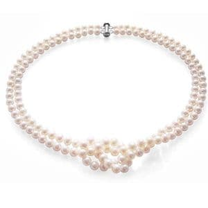 """Pearl Necklace Double Strand 6mm Pearls Sterling Silver 19"""""""