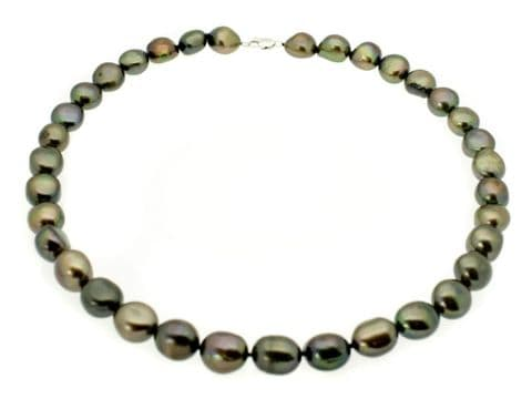 """Pearl Necklace Large Black Baroque Pearls Sterling Silver 17"""""""
