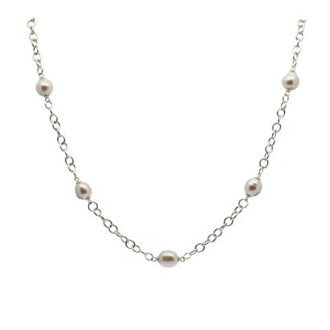 Pearl Station Necklace Cultured Pearls Sterling Silver (Mary Berry style)