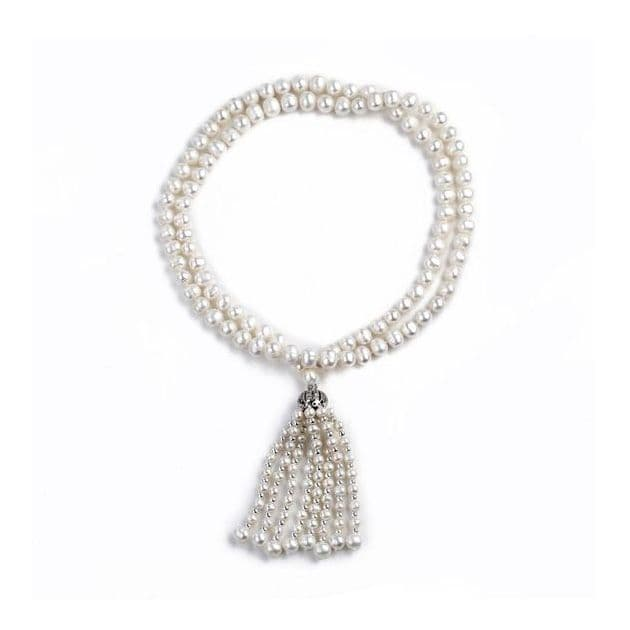 Matinee Length Pearl Necklace White Freshwater Pearls - 32