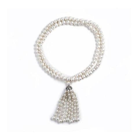 """Pearl Tassel Necklace 8mm White Cultured Pearls - 32"""""""