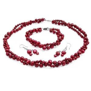 Red Pearl Necklace Bracelet & Earring Set Double Strand Baroque Pearls