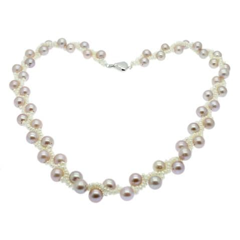 """Round Lavender Pearl & White Seed Pearl Necklace Sterling Silver 17"""""""
