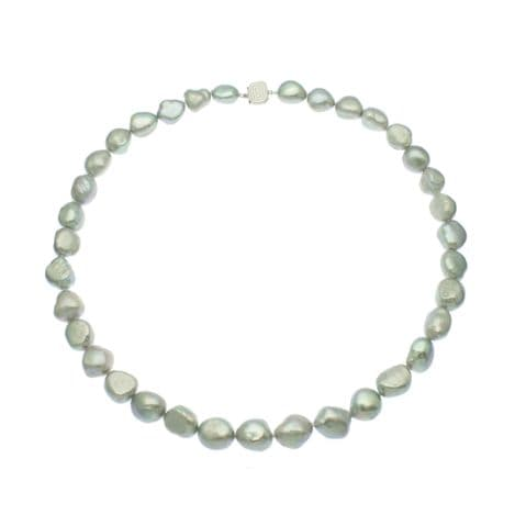 """Silver Grey Pearl Necklace Large Baroque Pearls Sterling Silver 18"""""""