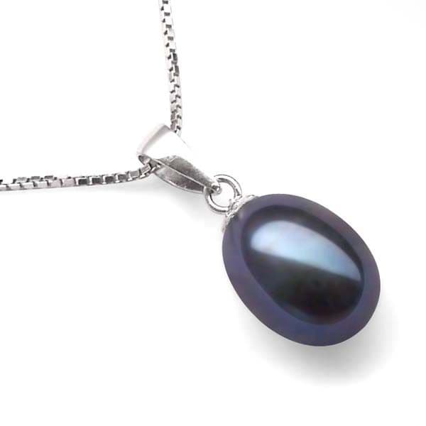 Single Black Pearl Drop Necklace 7mm Oval Pearl Sterling Silver Chain 18