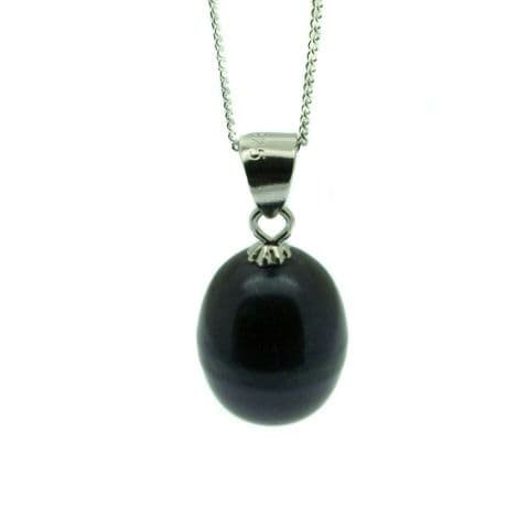 Single Black Pearl Drop Necklace 9mm Oval Pearl Sterling Silver Chain