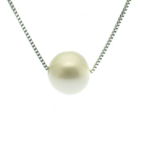 """Single Pearl Necklace 10mm Cultured Pearl on Sterling Silver Box Chain 18"""""""